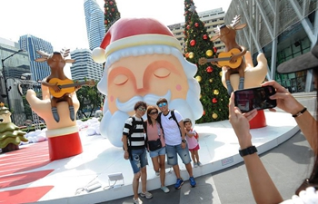 Christmas decorations set up in Bangkok