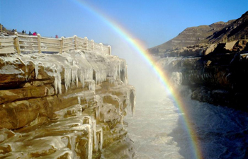 Winter scenery of Hukou Waterfall on Yellow River