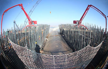 Shanghai-Nantong trans-Yangtze river bridge under construction