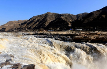 Amazing scenery of Hukou Waterfall on Yellow River