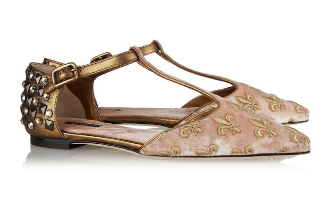 绒和金属色皮革尖头平底鞋 RMB 6845 Dolce &Gabbana 缀饰锦