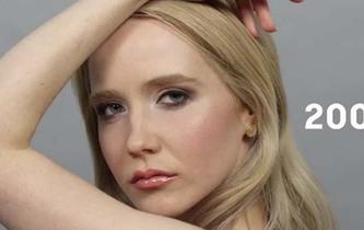 俏皮美女展示俄罗斯100年来女性妆容发型变化图片