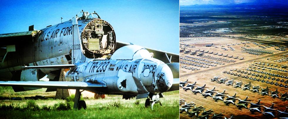 """高空拍攝美國壯觀的""""飛機沙漠墓地"""""""