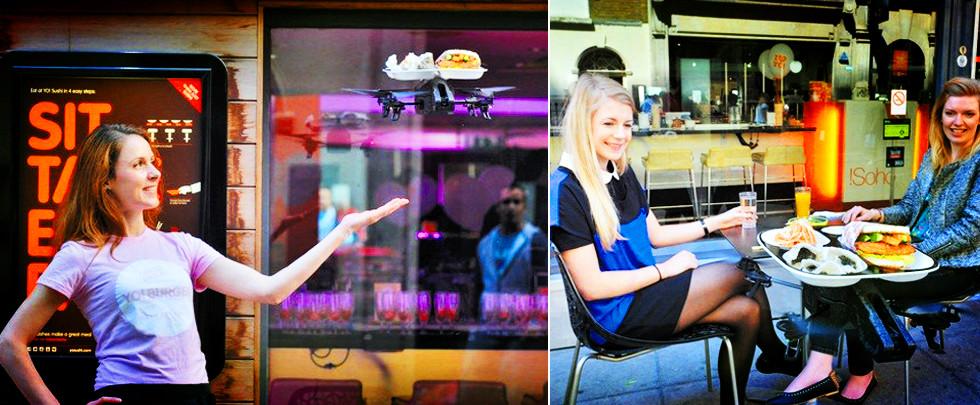 高科技!倫敦一餐館用無人機上菜(組圖)