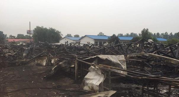河南平顶山养老院大火过后 高清图片