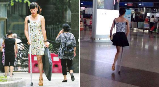 独腿女孩穿20厘米高跟鞋照片走红网络