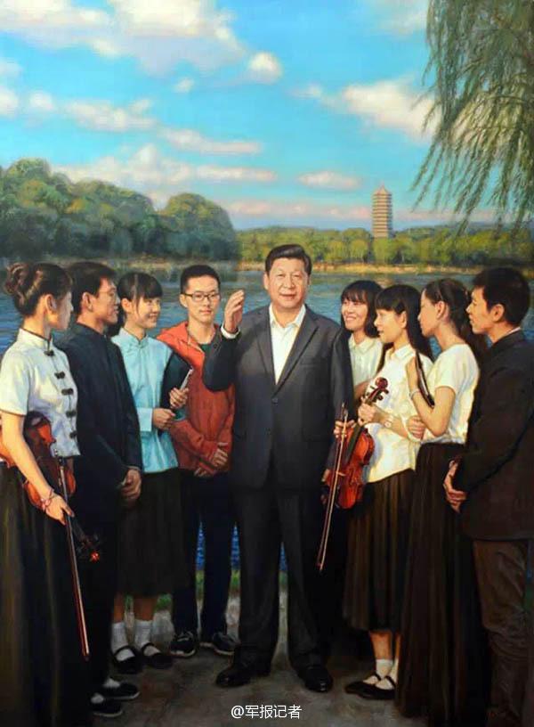 【高清】油画中的习大大 一脚抽射帮中国足球走向世界 资讯 第1张