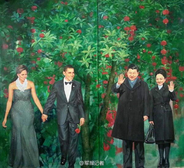 【高清】油画中的习大大 一脚抽射帮中国足球走向世界 资讯 第2张