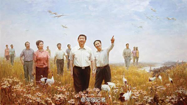【高清】油画中的习大大 一脚抽射帮中国足球走向世界 资讯 第4张