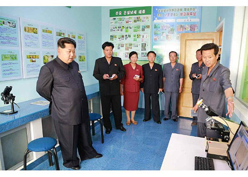 朝鲜最高领导人金正恩日前视察了平壤市长川蔬菜专门合作农场,大力