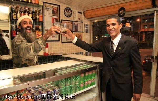 """惊!""""本拉登""""和""""奥巴马""""一同打台球[组图]"""