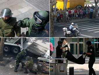 上海:公安局接報路邊現可疑木箱 特警現場處置經核實係一箱黃沙