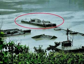 唐家山堰塞湖水位下降 汶川地震被淹場鎮重現
