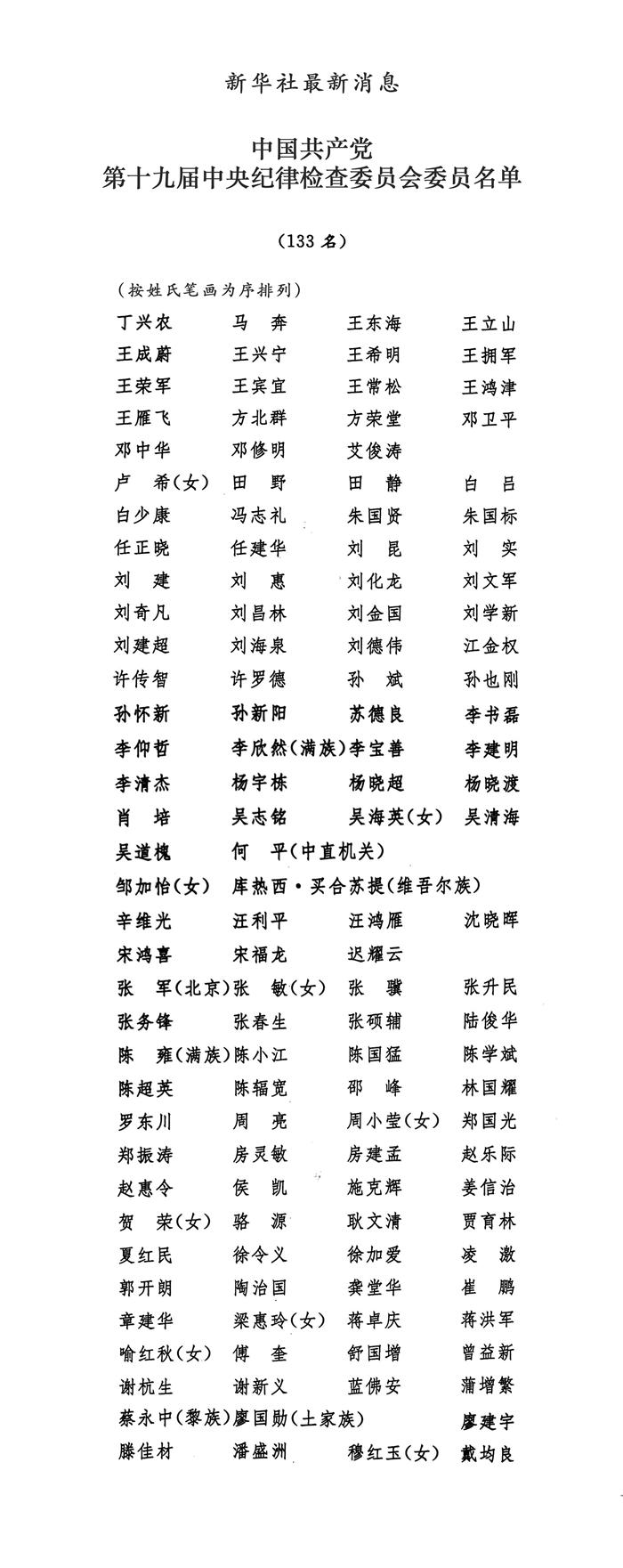中国共产 党第十九届中央纪律 检查委员会委员名单|公司新闻-张家口国特环保工程有限公司