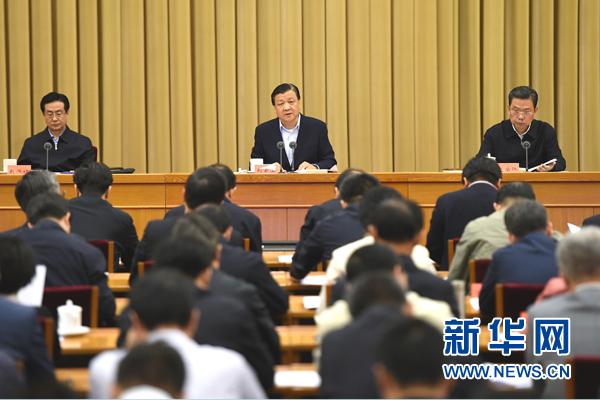 5月6日,中央党的群众路线教育实践活动领导小组召开视频会议。中共中央政治局常委、中央党的群众路线教育实践活动领导小组组长刘云山出席并讲话。新华社记者 马占成 摄