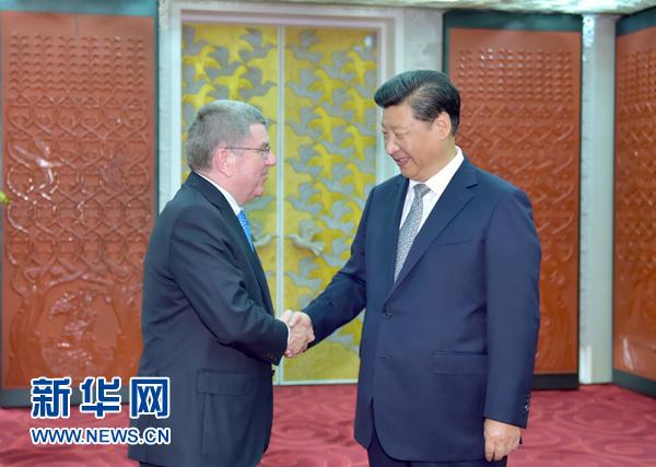 2015年8月22日,國家主席習近平在北京國家體育場會見國際奧委會主席巴赫。 新華社記者 李濤 攝