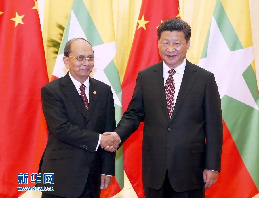 9月4日,国家主席习近平在北京人民大会堂会见缅甸总统吴登盛。新华社记者 鞠鹏 摄
