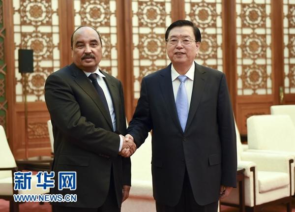 9月15日,全国人大常委会委员长张德江在北京人民大会堂会见毛里塔尼亚总统阿齐兹。 新华社记者 张铎 摄