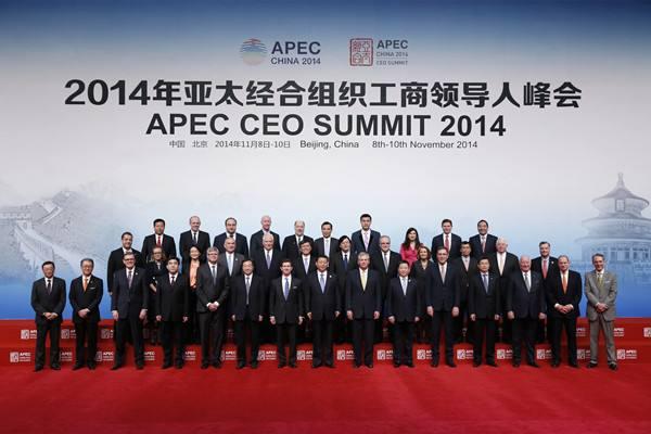 2014年11月9日,国家主席习近平同与会亚太工商界代表合影.-盘点图片