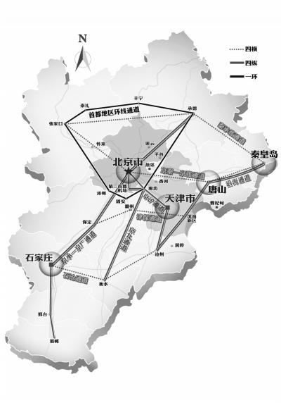 """《规划》中提出的""""四横四纵一环""""的京津冀交通网络示意图。此前,京津冀轨道交通环评中规划的城际铁路示意图。"""