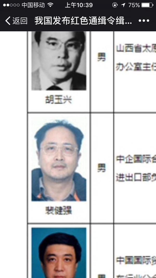 """""""百名红通""""10号嫌犯裴健强被抓获归案"""
