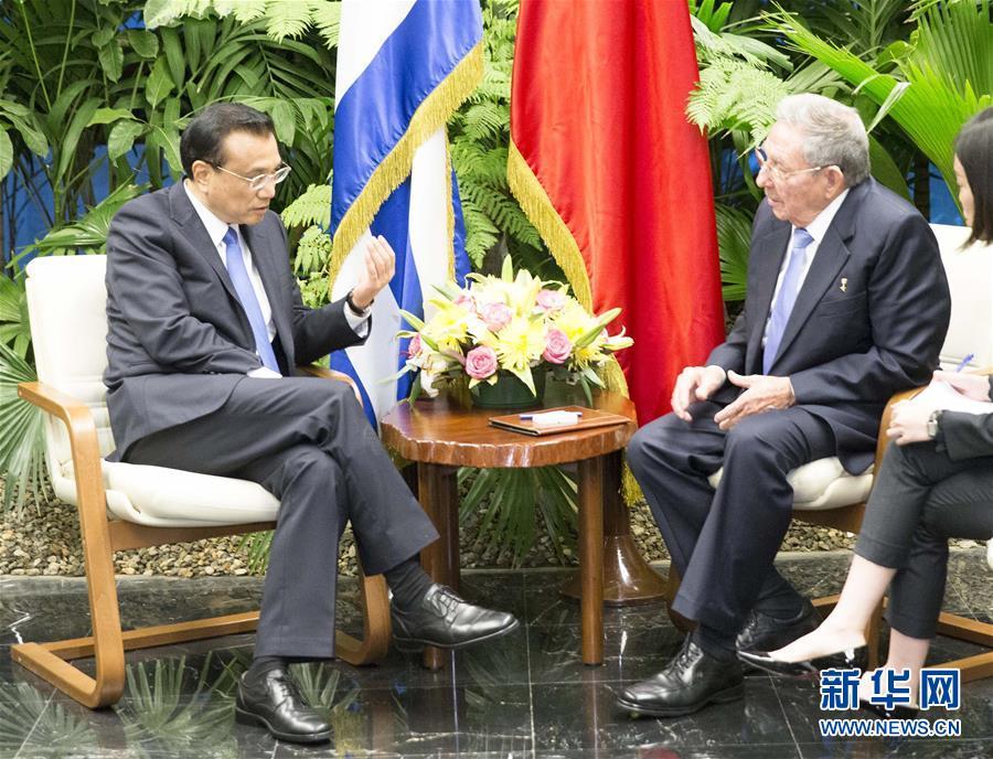 (XHDW)(4)李克强同古巴国务委员会主席兼部长会议主席劳尔·卡斯特罗举行会谈