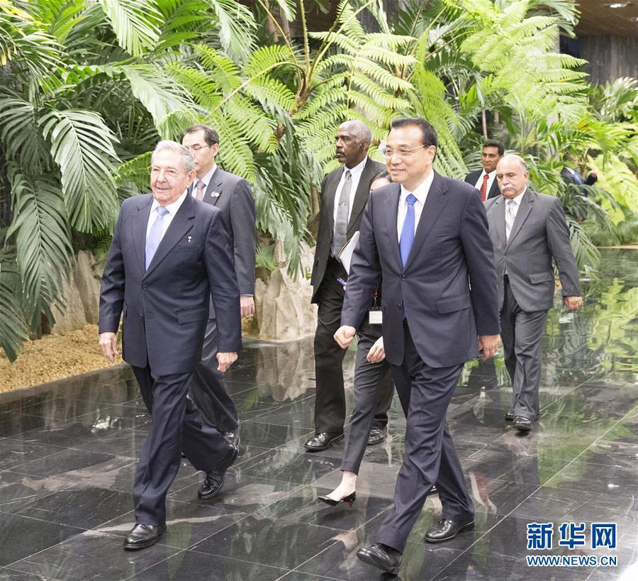 (XHDW)(5)李克强同古巴国务委员会主席兼部长会议主席劳尔·卡斯特罗举行会谈