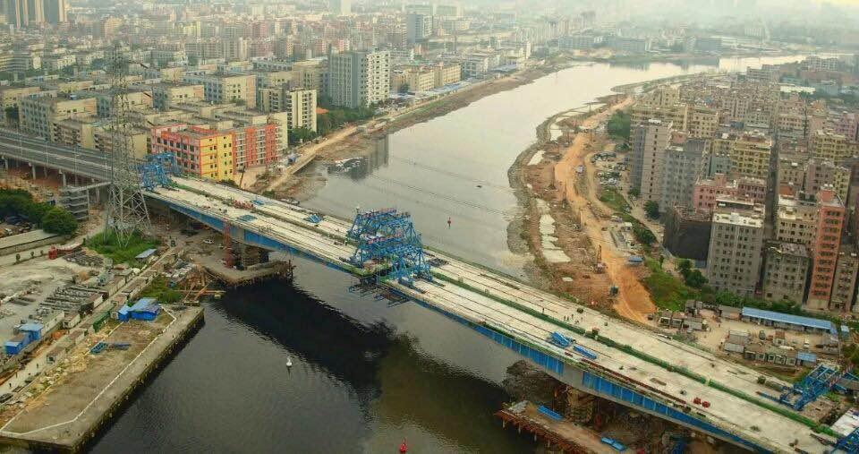 深圳东宝河新安大桥成功合龙 全长860米