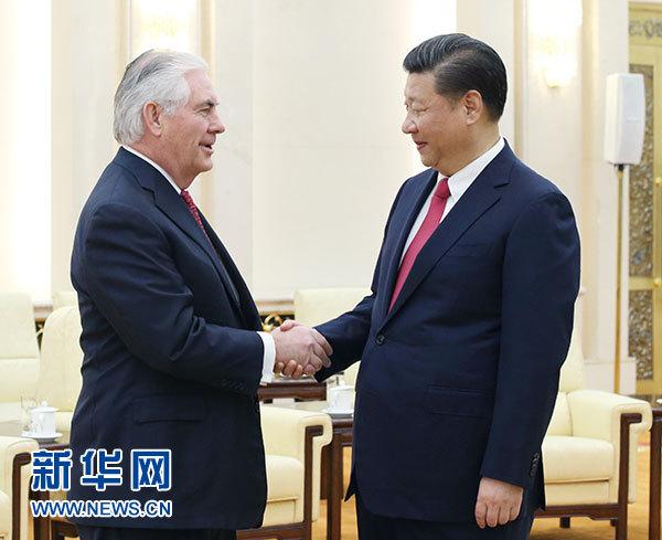 3月19日,国家主席习近平在北京人民大会堂会见美国国务卿蒂勒森。新华社记者 姚大伟 摄