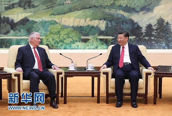3月19日,国家主席习近平在北京人民大会堂会见美国国务卿蒂勒森。新华社记者 鞠鹏 摄