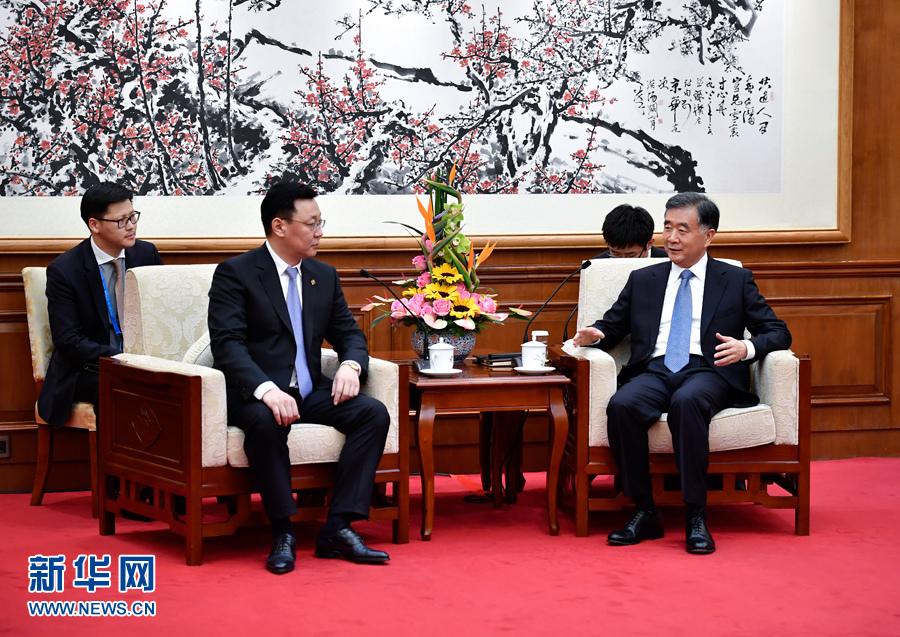 5月12日,国务院副总理汪洋在北京钓鱼台国宾馆会见蒙古国总理额尔登巴特。新华社记者 燕雁 摄