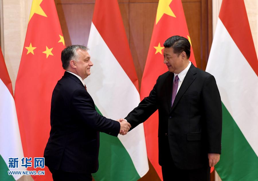 5月13日,国家主席习近平在北京钓鱼台国宾馆会见匈牙利总理欧尔班。新华社记者 饶爱民 摄