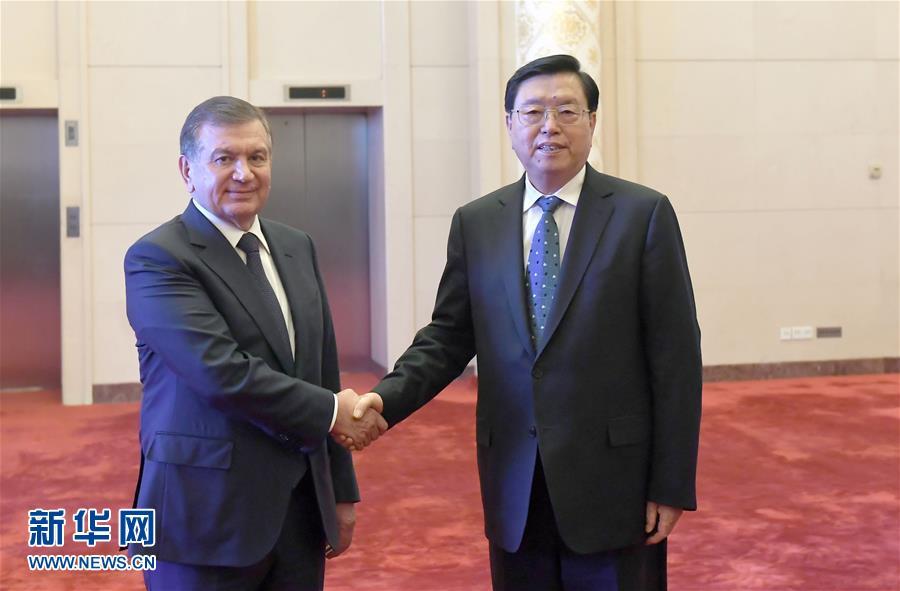 5月13日,全国人大常委会委员长张德江在北京人民大会堂会见乌兹别克斯坦总统米尔济约耶夫。新华社记者 张铎 摄