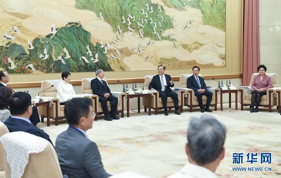 11月7日,全國政協主席俞正聲在北京會見饒穎奇率領的臺灣民意代表交流參訪團。新華社記者張領攝