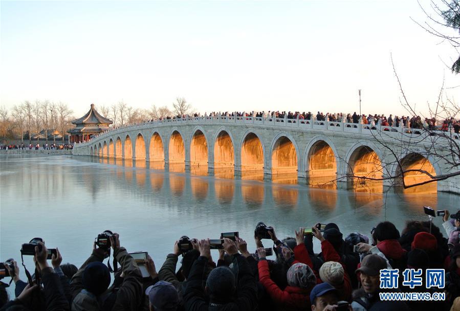 """(环境)(1)北京颐和园十七孔桥""""金光穿洞"""""""