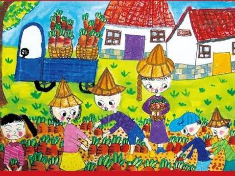 儿童画《大丰收》当贺卡