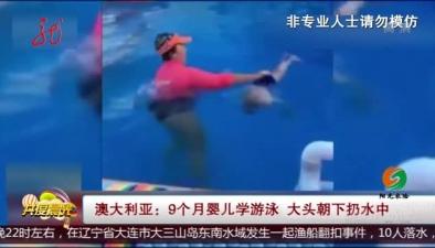 澳大利亞:9個月嬰兒學遊泳 大頭朝下扔水中