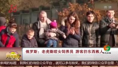 俄羅斯:老虎撕咬女飼養員 遊客扔東西救人