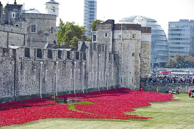 英国用陶瓷罂粟花装点伦敦塔 纪念一战百年