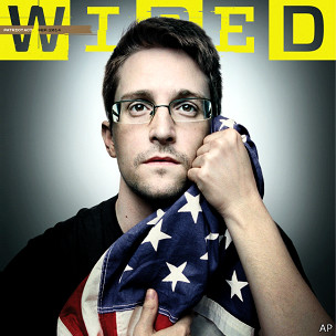斯诺登揭美情报机构秘密武器 抱美国旗登杂志封面