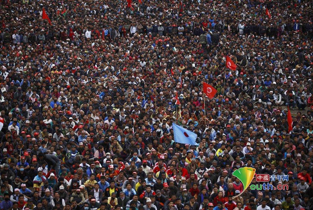当地时间2015年2月28日,尼泊尔加德满都,尼泊尔共产党组织大规模