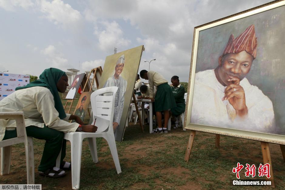 比赛 绘制历任国家领导人画像图片