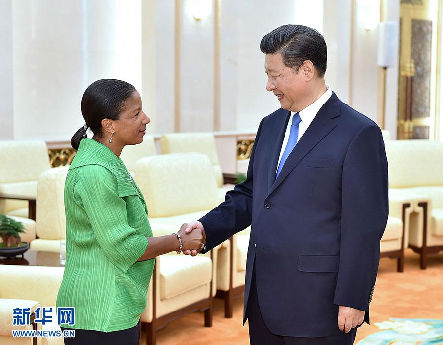 8月28日,国家主席习近平在北京人民大会堂会见美国总统国家安全事务助理赖斯。 新华社记者 李涛 摄