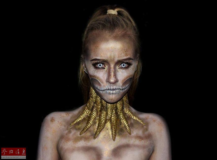 16岁女孩自学特效化妆 打造科幻人体彩绘(组图
