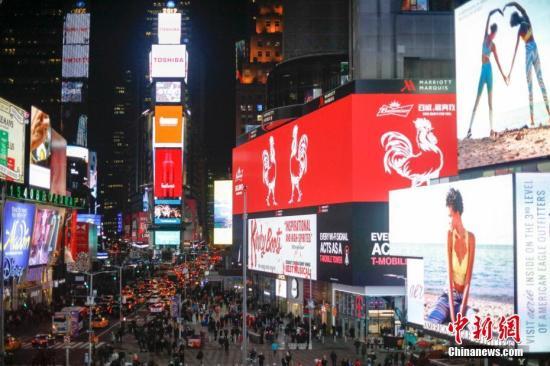 资料图:当地时间1月5日,中国生肖鸡亮相纽约时代广场。 <a target='_blank' href='http://www.chinanews.com/'><p  align=