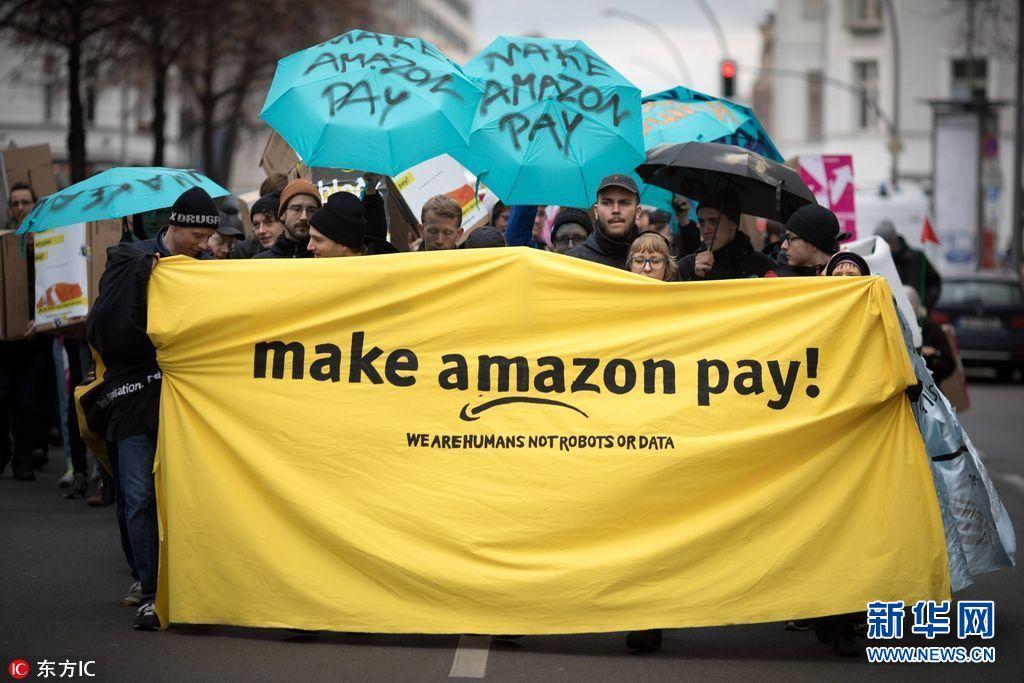 """德意亚马逊员工""""黑五""""罢工 集会要求提高薪酬"""