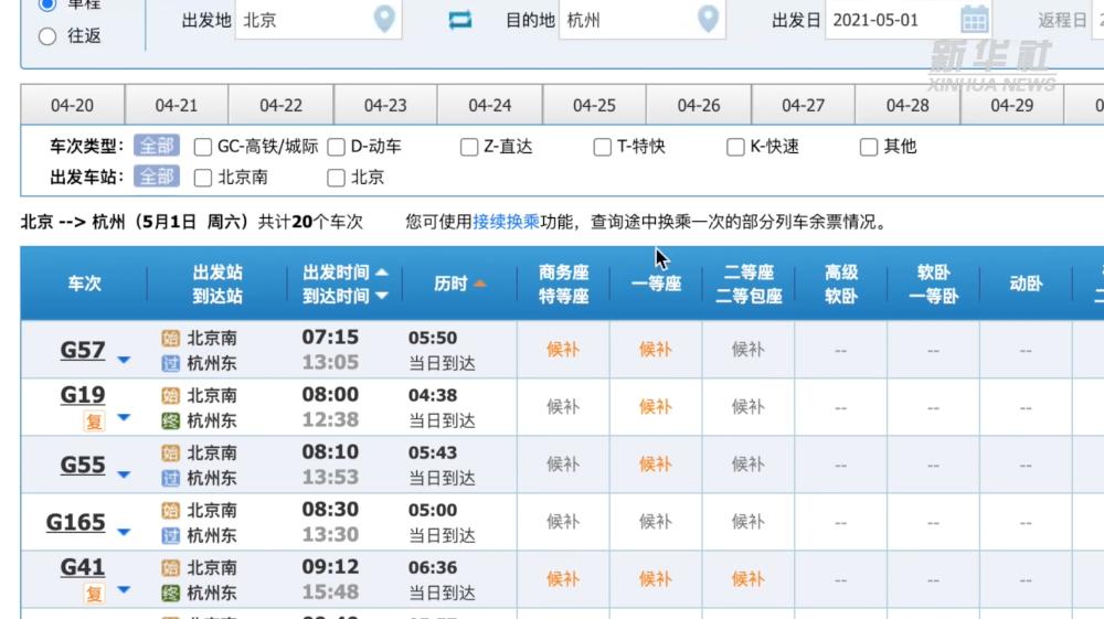 """五一假期热门高铁票""""一秒售空"""" 第三方平台真能够抢到票吗"""