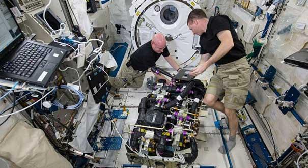 宇航员在太空生活照公开:喝奶昔维修机器