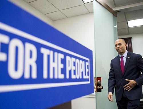美國政府持續停擺 民主黨人在國會大廈舉行核心會議