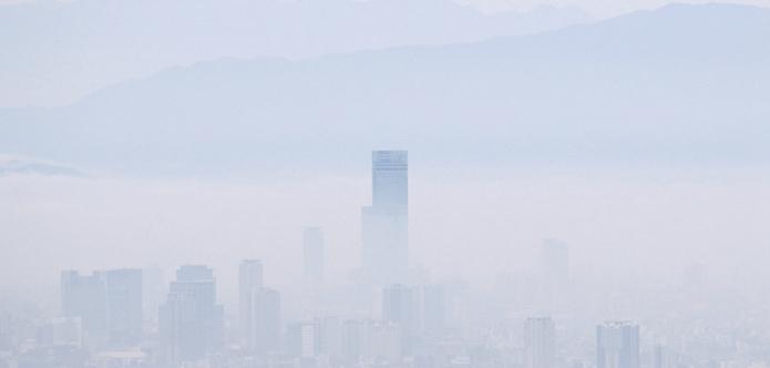 日本大阪濃霧繚繞 第一高樓若隱若現